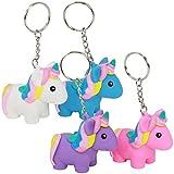 com-four® Llavero Unicornio 4X para apretar - Colgante mágico Unicornio para Llavero y Mochila - pequeño talismán [la selección de Colores varía] - 5,7 cm (04 Piezas - Exprimir)