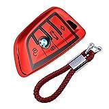 kaser Funda de Silicona para Llave BMW – Cover Carcasa de TPU Cromo Suave para Keyless BMW Serie 1 3 5 7 X1 X3 X4 X5 F30 E30 Protección Llaveros Mando a Distancia (Rojo)