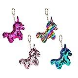 Toyvian 4pcs Unicornio Llavero Lentejuelas Unicornio Llavero Bolso Decoraciones para Mujeres niñas Regalo