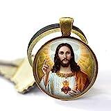 Llavero de Jesucristo, corazón de Jesús, Sagrado Corazón, joyería religiosa regalo