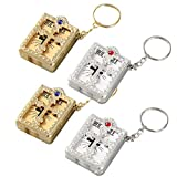 GARNECK - 4 llaveros de mini sagrada Biblia Religioso Religioso Cristiano (oro y plata)