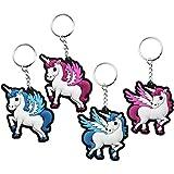 com-four® Set de 4 Llavero Unicornio de Goma, en Diferentes Variantes (04 Piezas - Goma Azul/Rosa)