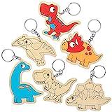 Baker Ross Llaveros de Dinosaurio de Madera para Colorear AT671 (paquete de 10) para proyectos de arte y manualidades para niños, surtidos