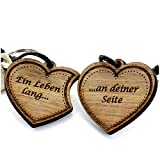 Lieblingsmensch Juego de llaveros de madera con grabado – Modelo: doble corazón