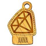 Llavero de diamante, piedras preciosas, nombre, madera natural, colgante con grabado individual, regalo aprox. 31 x 45 mm