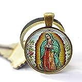 Llavero con diseño de Nuestra Señora de Guadalupe, llavero de la Virgen María, llavero de arte católico religioso