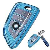 Funda para llave de coche BMW – Carcasa de silicona TPU para BMW Keyless Serie 1 3 5 7 X1 X3 X4 X5 X6 F30 E30 Carcasa Carcasa de llave con gancho (Azul-B)