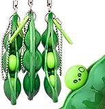 Squeeze Beans llavero soja alivio del estrés y reduce la ansiedad cadena del teléfono celular guisantes diversión juguete anti ansiedad para niños adultos 3 piezas