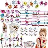 vamei 84 Piezas Relleno Piñatas Unicornio Cumpleaños Artículos de Fiesta Bolsos Unicornio Llavero Pulseras Pinzas Pelo Collares Anillos Tatuajes Unicornio Regalos Cumpleaños para Niños Niñas