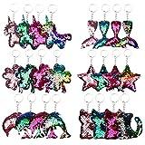 Dsaren 24 Piezas Llaveros de Lentejuelas Reflectantes Llavero Bolso Brillantes con Unicornio Gato Cola de Siren DelfínEstrella Regalos Fiestas Cumpleaños para Niños